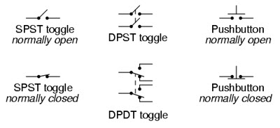 typical schematic symbols for switches